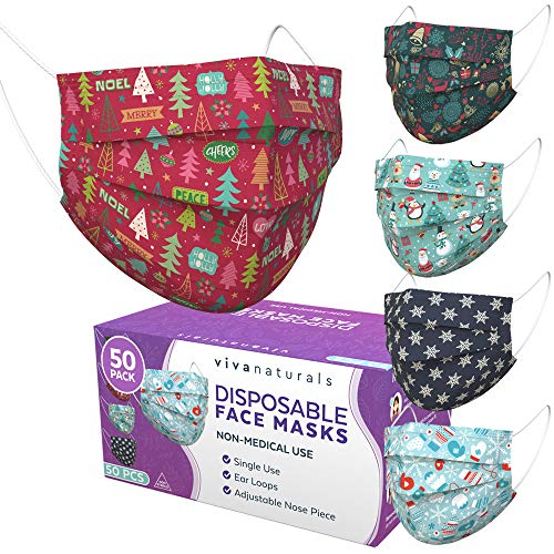 Christmas Face Mask (50 Pack) - Premium 3-Ply Christmas Mask with 5 Stylish Patterns, Comfortable Earloops & Adjustable Metal Nose Strip, Disposable Non-Medical Christmas Face Masks for Adults