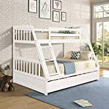 Merax Solid Wood Bunk Bed Detachable No Box Spring Needed Trundle, Twin/Full, White