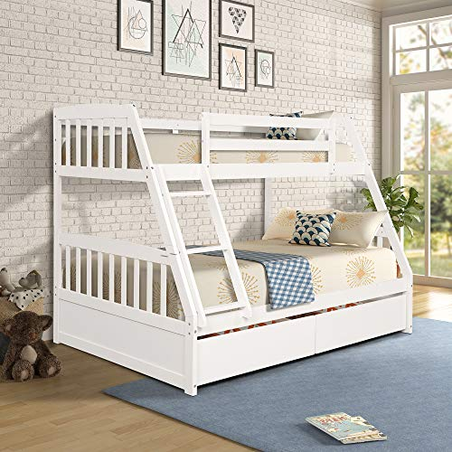 Merax Solid Wood Bunk Bed Daybed No Box Spring Needed Trundle, Twin/Full, White