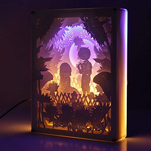 GIKIO 3D Shadow Box, Geschenke Zum Valentinstag Für Sie, 3D-papierschnitzlampe Mit Fernbedienung, Dekorative Raumbeleuchtung, Led-licht-nachtlampe, (sonnenblumenmeer In Erinnerung)