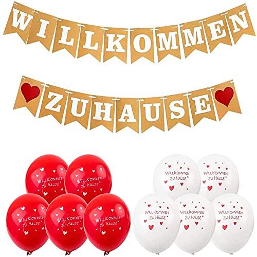 Akrcheft Willkommen Zuhause Banner, Herzlich Girlande für Familie Party Welcome Home Banner, mit 19 STK Wimpeln, & 8 Luftballons, für Hochzeit, Fest, Weinachten & Vintage Dekoration