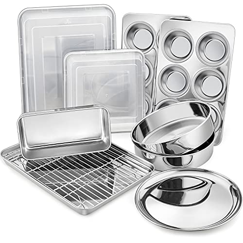 12-Piece Stainless Steel Baking Pans Set, P&P CHEF Kitchen Bakeware Set, Include Baking Sheet with Rack, Round/Square Cake Pan, Lasagna Pan, Loaf Pan, Muffin Pan, Pizza Tray & 2 Covers, Durable