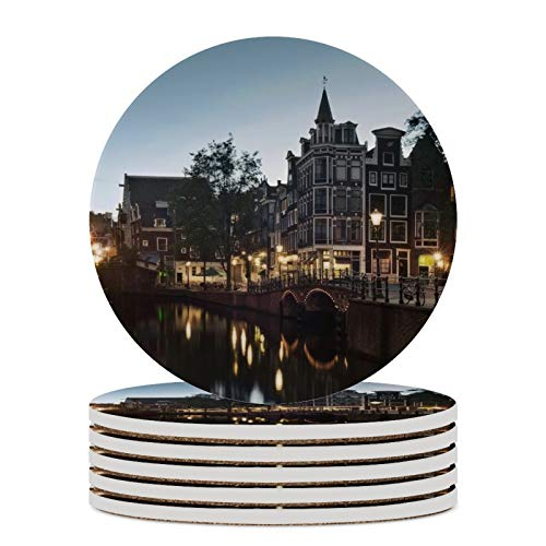 Posavasos para bebidas absorbentes de cerámica con base de corcho Amsterdam Street patrón redondo posavasos para inauguración de la casa, juego de 6 (4 pulgadas)