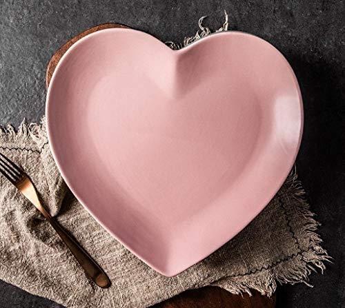 Plato de amor de 7,5/10,5 pulgadas plato de plato en forma de corazón para el hogar plato de postre creativo plato de corazón de melocotón nórdico ins-Plato rosa de 10,5 pulgadas_1 articulo
