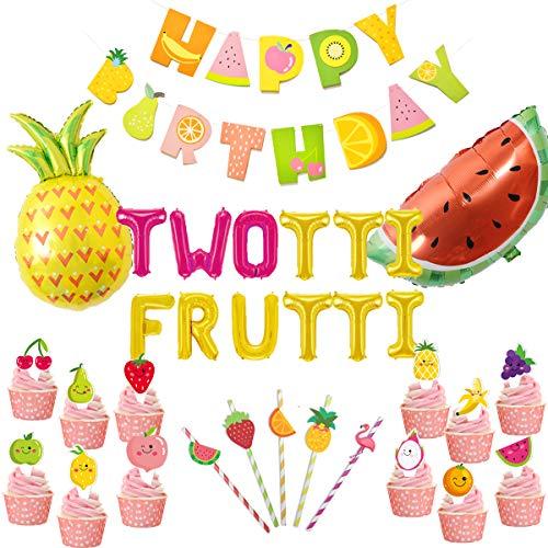 JOYMEMO Twotti Fruity Birthday Decorations Artículos para Fiestas Twotti Frutti Globos, Primeros de la Torta de Frutas Pajitas de Papel Piña Sandía Globos Verano 2º Fiesta de cumpleaños Tutti Frutti