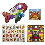 Desconocido Byoeko Set de 4 Juguetes educativos de Madera para niños de Madera (Puzzle Tacos 9 Piezas, Tablero Alfabeto, Puzzle Avión y Juego de para armar Figuras geométricas)