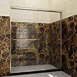 SUNNY SHOWER Semi-Frameless Shower Door 1/4' Clear Glass Sliding Shower Enclosure 54' W x 72' H, 2 Ways Sliding Opening, Brushed Nickel