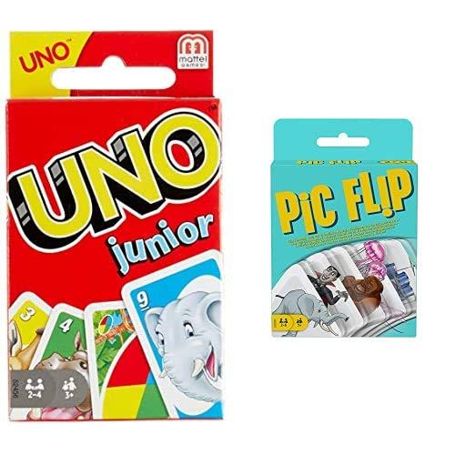 UNO Junior, Gioco di Carte, Mattel Games, 52456 + Pic Flip, 110 Carte da Gioco da Abbinare Fra Loro, Giocattolo per Bambini 7+ Anni,...