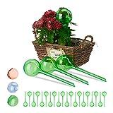 Relaxdays Set Autorriego para Macetas, Plástico, Verde, 24 Unidades