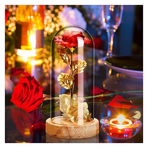"""Juego de rosas """"La Bella y la Bestia"""" – Estos incluyen rosa de aluminio dorado, tiras de luz LED, cúpula de cristal, base de madera y caja de regalo, gran regalo de decoración para el hogar, la belleza y la rosa de la bestia viene montada y lista par..."""