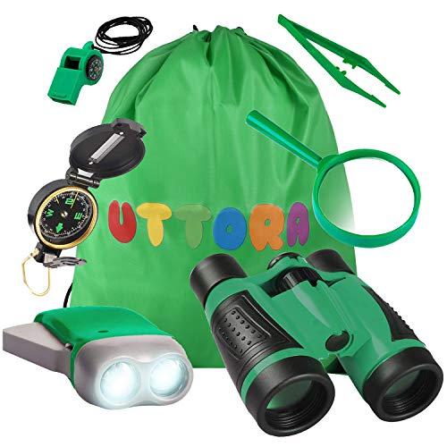 UTTORA Kit de Binoculares para Niños, Kit de Exploración para Niños 7 en 1, Prismáticos, Linterna LED de Mano, Brújula, Lupa, Silbato, Mochilla de Colección, Juego de Explorador para Niños (Green)