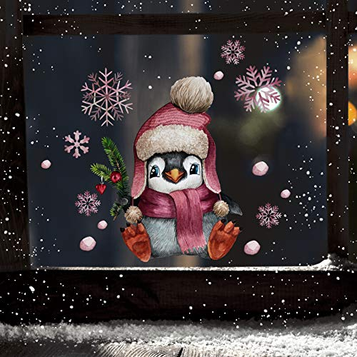 ilka parey wandtattoo-welt Fensterbilder Weihnachten Fensterbild Pinguin Mütze Schneeflocken wiederverwendbar Fensterdeko Winter Kinder bf89 - ausgewählte Größe: *1. Pinguin Mütze*
