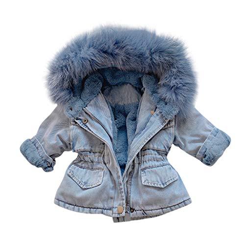Deloito Kleinkind Baby Jeansjacke Herbst Winter Kinder Mädchen Denim Outwear mit Kapuze Faux-Pelz Vlies Warmer Steppjacke Pelzkragen Starker Mantel (Blau,110/3-4 T)