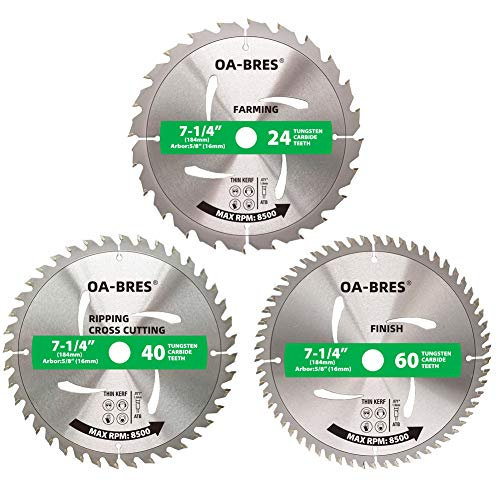 3Pack Combo 7-1/4 Inch Circular Saw Blades with 5/8' Arbor, TCT ATB 24T Farming, 40T Crosscutting, 60T Finish Saw Blade for Various Wood Cutting