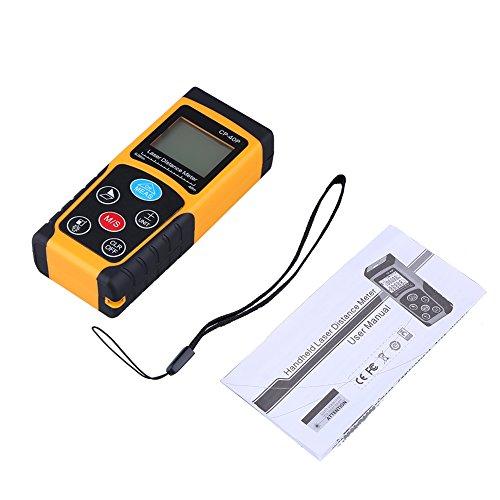 ASHATA Misuratore Laser, Misuratore di Distanza Laser IR Digitale Portatile ad Alta precisione Misuratore di Portata Compatto, con Ampio Display LCD, Misura Distanza, Area e Volume(100M)
