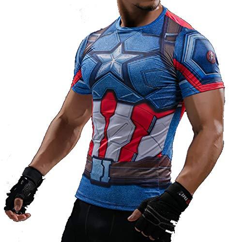Desconocido FRIKIMANES Camiseta Deportiva Superhéroes Capitán América de Compresión para Deporte Running,Fitness,...