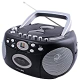 HANNLOMAX HX-323CD Portable CD Player, AM/FM Radio, Cassette Recorder, Records from CD or Radio, Aux-in Jack, Headphone Jack, AC/DC Dual Power Source. (Black)