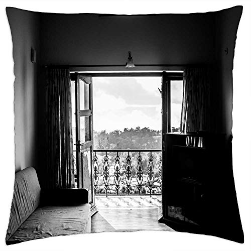 LESGAULEST Throw Pillow Cover (16x16 inch) - Room Couch French Window Balcony Sofa Home House