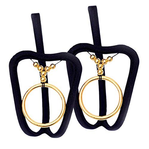 2er Set Herren Metall Ringe Schwarz C-String Männer Tanga Mini Slip Dessous Dessous Thong Slips - 2x Gold, wie beschrieben