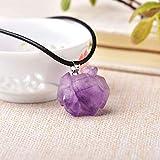 1Pc Fashion Simple Amethyst Pendant Natural Quartz Stone Raw Crystals For Men Women Jewelry Purple Reiki Mineral Specimen Gift,Random Delivery