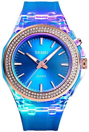 Vogue Damenuhr Glitzer Disco LED Beleuchtung Quarzuhr Vaporwave Girl Armbanduhr mit Diamant Flieder