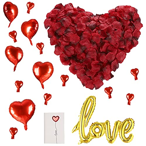 huaao 3000 pcs de pétalos de rosa para decoración de bodas, 10 globos rojos con forma de corazón, 1 globos de amor, globos decorativos románticos para San Valentín, compromiso, cumpleaños aniversario.