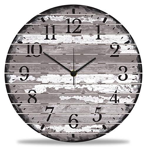 GRAVURZEILE Wanduhr aus Holz Vintage Gray - 100% Lautlos kein Ticken absolut geräuschlos - 30 cm Ø - Design Wanduhren für Wohnzimmer Schlafzimmer & Küche