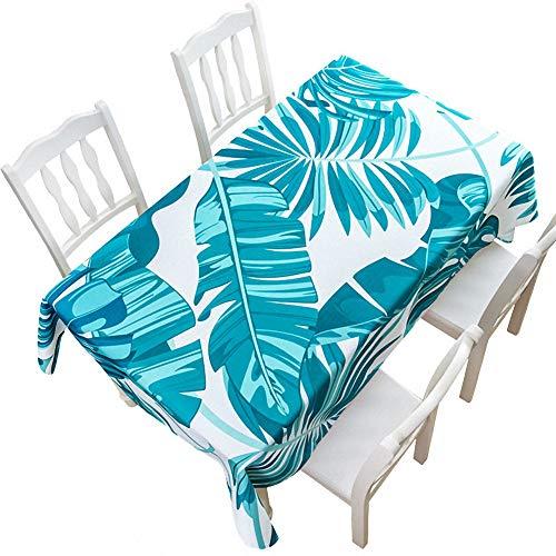 Telihome Nappe Imperméable Vert Coton et Lin Petite Nappe de Table Fraîche Nappe de Table Basse Rectangulaire, Vert Tacheté, 85 * 85Cm