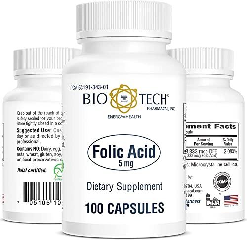 Bio-Tech Pharmacal Folic Acid (5mg, 100 Count)