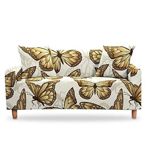 Elastischer Sofabezug,Stretch Gedruckt Sofa-Abdeckung, Golden Grey Butterfly Muster Weiche Elastische Polyester Stoff Sessel Slipcovers, Universal Anti-Rutsch Ausgestattet Sofa Möbel Schutz, 2, Sitze