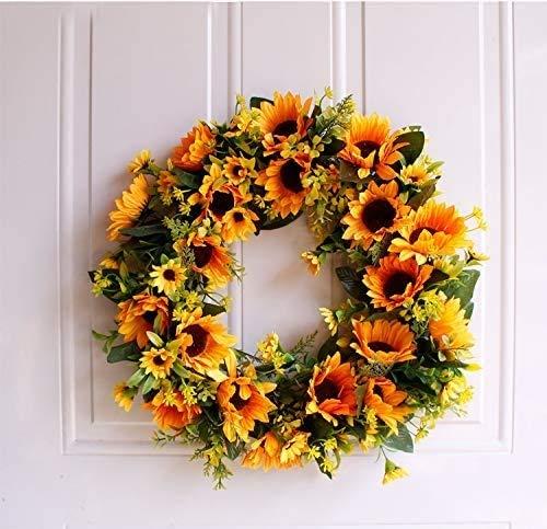Raelf Corona de girasol artificial de 40 cm, guirnalda de 40 cm, guirnalda natural de 40,6 cm, utilizada para reunión familiar, ventana interior y exterior, pared, boda, fiesta, decoración de flores