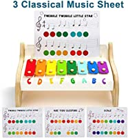 TOP BRIGHT Xilofono in Legno per Bambini – Strumento Musicale Giocattolo per Bambini di 1 Anno con 3 Spartiti – Tasti Colorati, Gioco educativo #1