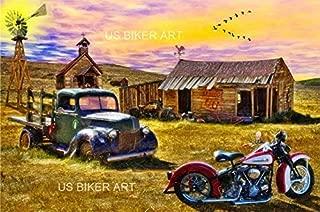 Motorcycle Vintage Harley Chopper Bodie Ghost Town 66 Best Biker Art Print
