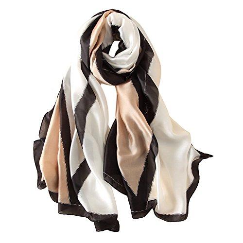 dontdo Elegante bufanda de patrón geométrico, bufandas largas para mujer, mantón liso, toalla de playa de seda sintética, color negro