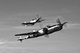 Posterazzi PSTSGR100006MLARGE A P-38 Lightning and P-51D Mustang in flight over Chino California Poster Print, 34 x 23
