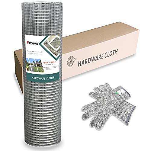 48'' x 100' 1/2inch Hardware Cloth Galvanized Welded Cage Wire, 19 Gauge Hardware Cloth Wire Metal mesh, Poultry Netting Square Chicken Snake Fencing Gopher Fence Racoons Rabbit Pen Gutter