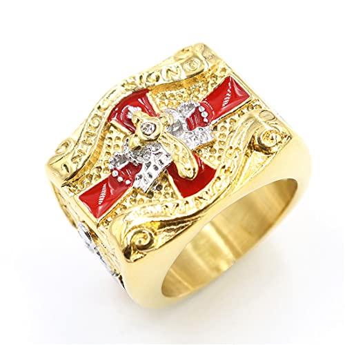 FLQWLL Anillo Masónico Cruz Corona De Acero Inoxidable,Caballeros Templos Hechos A Mano En Oro De 18 K para Hombre Regalo De Joyería De Amuleto De Estilo Religioso,12