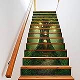 tzxdbh losetas vinilo para escaleras Verde gran árbol casa 100CMx18CMx6pieces(39.3'w x 7'h x 6pieces) Escaleras Cocina Piso Baño Simulación Decoración de Pared Hogar Impermeable Extraíble Etiqueta de