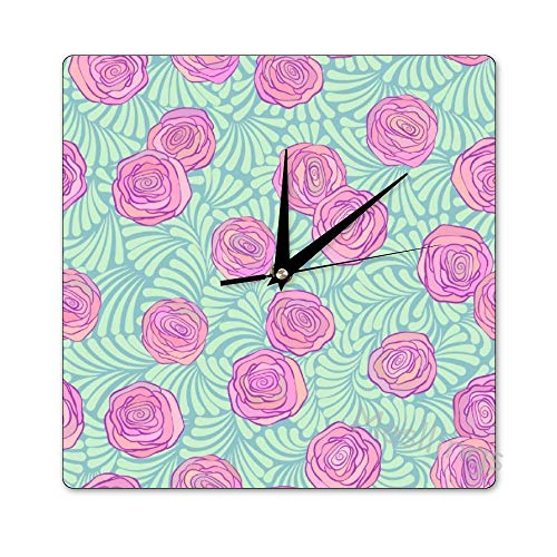 Mesllings Scale-Free Wall Clocks Pink Rose Pattern (1) Square Wall Clo