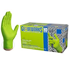 Gloveworks HD Industrial Green Nitrile Gloves are constructed from heavy-duty 8 mil thick nitrile with raised diamond fully textured grip, measuring 9.5 inches from fingertip to glove cuff. Industrial-grade nitrile gloves offer excellent elasticity, ...