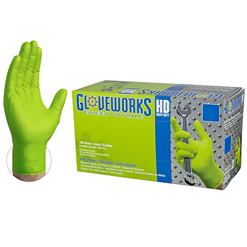 GLOVEWORKS HD Industrial Green Nitrile Gloves with Diamond Texture Grip, Box of 100, 8 mil, Size Large, Latex Free, Powder Free, Textured, Disposable, GWGN46100-BX