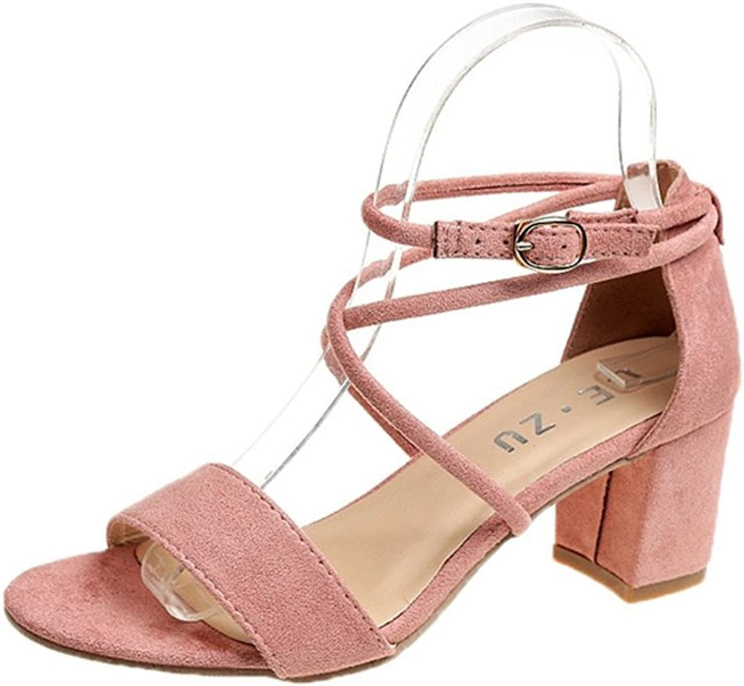T-JULY Women's Suede Hollow Cross Strap Sandals Chunky Heel Ankle Strap Party Wedding Dress Open Toe Pumps shoes