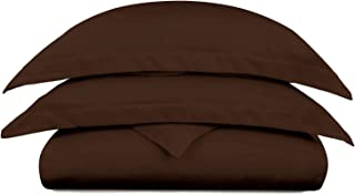 Cosy House Collection Luxury Bamboo Duvet Cover Set 2-Piece - Ultra Soft Hypoallergenic Bedding - Zippered Comforter Protector, Includes 1 Pillow Sham - Twin/Twin XL - Chocolate