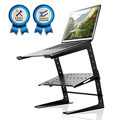 Pyle Portable Adjustable Laptop Stand - 6.3 to 10.9 Inch Standing Table Monitor or Computer Desk Workstation Riser with Shelf Storage and Height Alignment for DJ, PC, Gaming, Home or Office - PLPTS26 by Sound Around