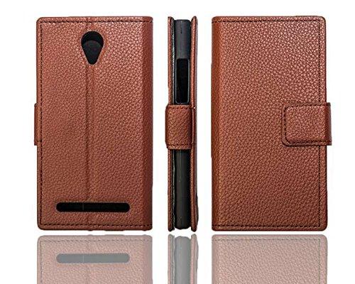 caseroxx Handy Hülle Tasche kompatibel mit Archos 45C Platinum Bookstyle-Hülle Wallet Hülle in braun