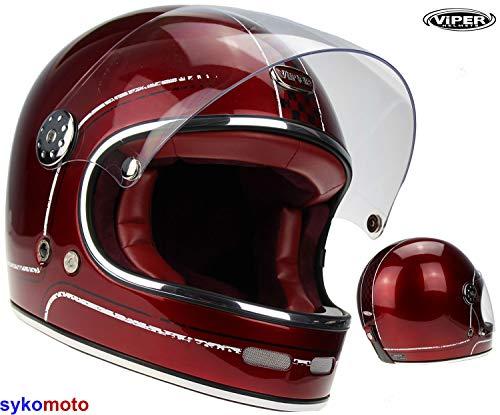 ViPER Rider F656 Burgund Glasfaser Integral Motorradhelm Retro Bobber Vintage ECE Zertifiziert Fahrrad (L (59-60 CM))