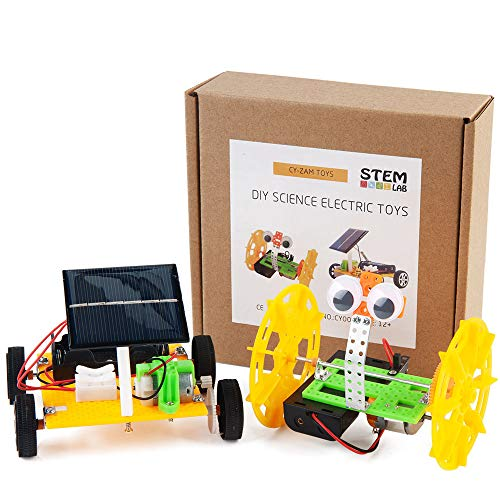 CYZAM DIY Robotics Science Kits STEM Toys for Kids, Electric Motor Assembly Solar Powered Car Kit, DIY Science Engineering Experiments Projects for Boys & Girls (2 Sets)