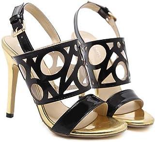 054b39f5cb80c1 12cm Stiletto Pompe Sandales Femmes Open Toe Slingbacks Ankel Strap  Chaussures Casual Élégant Colormatch Creux Ceinture