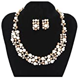 XingBeiBei The New Fashion Imitation Pearls Short Paragraph Bride Necklace Earrings Set (Grey)