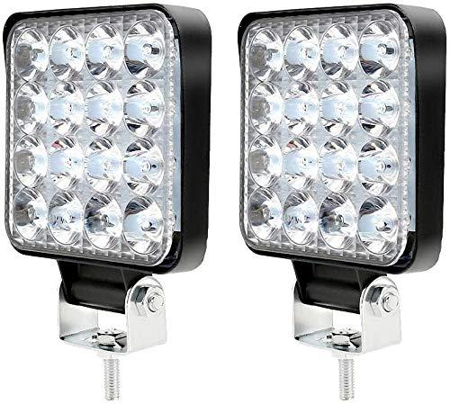2 Pezzi 48W Faro da Lavoro Impermeabile LED da Lavoro 16LED Luci di Lavoro Fuoristrada per Moto Auto ATV SUV Trattore Proiettore Riflettore Faretto a LED Fendinebbia Lampada (2pezzi)
